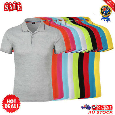 Classic Mens Summer Short Sleeve Shirt Casual Solid Color Polo T- Shirts New