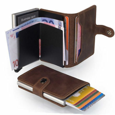 Genuine Leather Business Credit Card Holder Wallet Clip RFID Blocking Purse Men