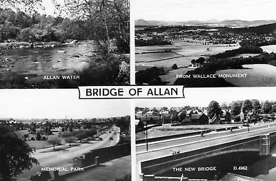 Bridge of Allan: 4 mini views: Allan Water, Memorial Park, view to  New Bridge