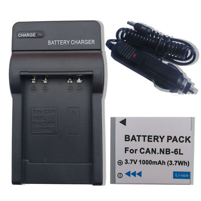 NB-6L NB6LH Battery + Charger for Canon Powershot SD1200 SD980 SX500 IS SX510