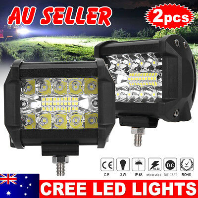 2x CREE LED Work Bar Light 4x4 Ford 4WD Spot Flood OffRoad Driving Reverse 4inch