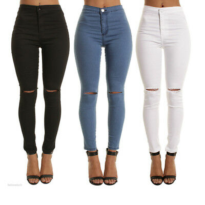 High Waist Skinny Jeans for Women Vintage Girls Slim Ripped Denim Pencil Pants