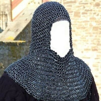 christmas gift MEDIEVAL Aluminum Round Riveted Chainmail Hood coif cap armo