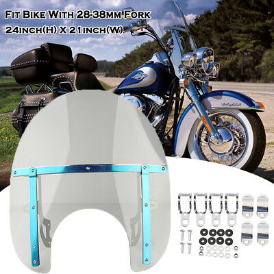 Areyourshop Large Windshield Windscreen for 19x17 Harley Honda Suzuki Yamaha Kawasaki Gray