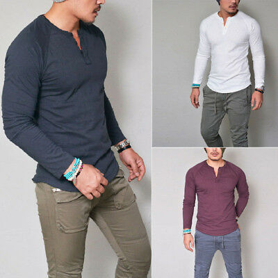 Men Slim Fit Henley V Neck Long Sleeve Muscle Tee T-shirt Casual Tops Blouse AU