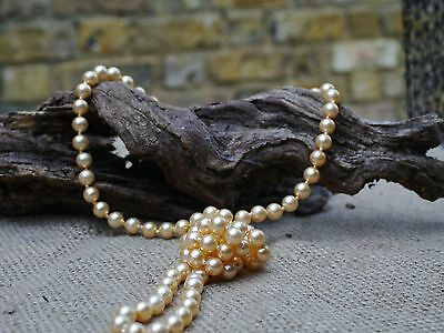 Vintage Yellow Plastic  pearl Necklace Costume Jewellery