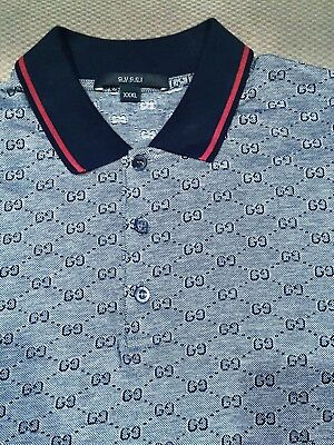 a06fb603f30 GREAT  480!!! Gucci Polo wed piquet GG Grey Red Navy Blue XXXL 100