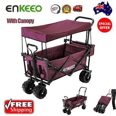 Enkeeo Collapsible Utility Wagon Sports Outdoor Cart Camping Beach Trolley Chart