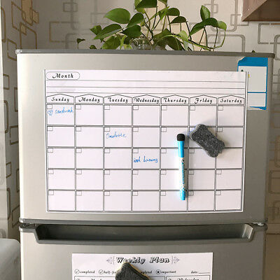 MAGNETIC DRY ERASE CALENDAR Board Wall Monthly Time Planner Whiteboard M&E