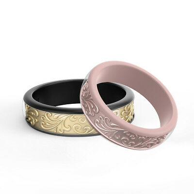 Ikonfitness Silicone Wedding Ring, 2pcs Rubber Ring 3D Sculptured Flower Pattern