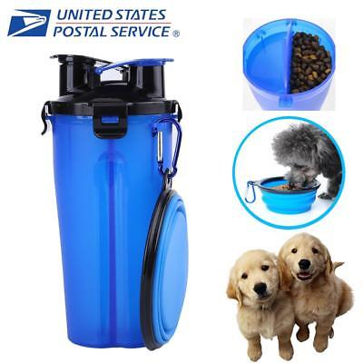 Pet Dog Cat Water Bottle Food Cup Drinking Travel Outdoor Portable Feeder Bowl