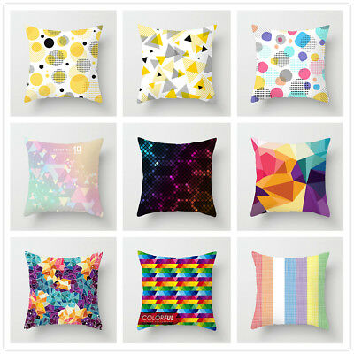 Geometric Colorful Pattern Throw Pillow Case Polyester Cushion Cover Home Decor