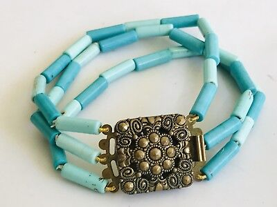Antique German Gilt Metal And Turquoise Bracelet