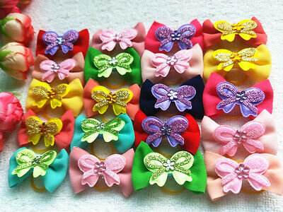 20PCS / LOT Pet Dog Accessories Grooming Chiffon Hair Bows For Dogs