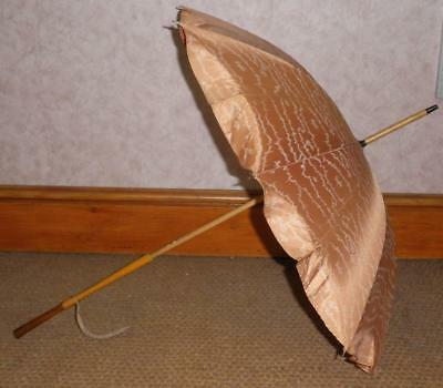 Vintage 'Gauntlet' English Made, Peach Canopy Ladies Parasol With Superb Handle