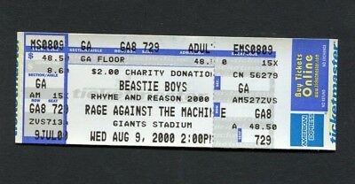 2000 Beastie Boys Rage Against the Machine Unused Ticket Giants Stadium NJ