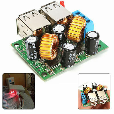 12V To 5V 5A Step Down 4 Port USB DC Power Supply Module Mobile Tablets Charger