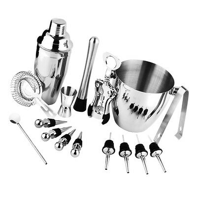 Baoblaze 16pcs Steel Cocktail Martini Shaker Mixer Bar Drink Set Bartenders