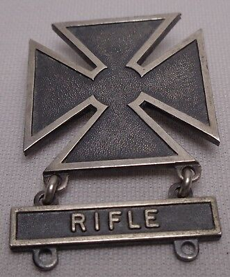 Sterling Silver Army Medal / Pin Small Bore Rifle Matese Cross MILITARY