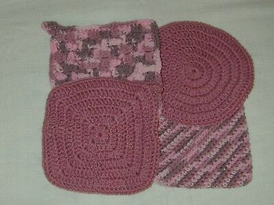 Lot of 4 NICE Handmade Multi Colors of Pink Crocheted Pot Holders