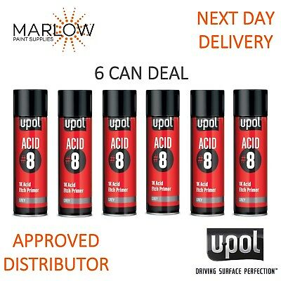 6 X Upol Acid 8 Grey Etch Primer U-Pol Aerosol 450Ml Deal