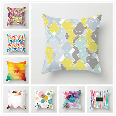 Colorful Pillow Case Geometric Home Decoration Polyester Waist Cushion Cover