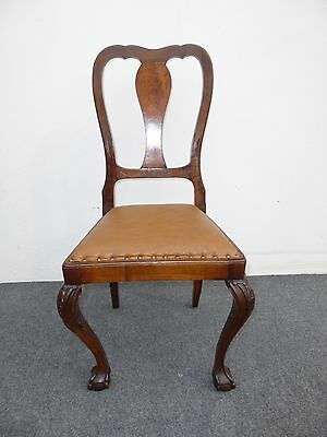Vtg Ornate ACCENT CHAIR Ball & Claw Feet Burl Wood Brown Leather Decorative Nail