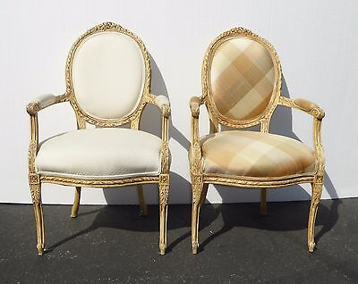 Pair Vintage French Provincial Style Carved Wood White & Plaid Accent Chairs