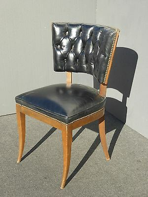 Vintage Mid Century Modern Tufted Black Vinyl ACCENT CHAIR w Decorative Nails