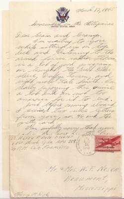 WWII U.S. Army Air Force Letter. 69th Bomb Squadron. Luzon, Philippines 1945.