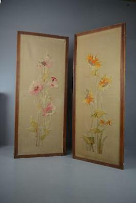 PairLarge Antique Oak Framed Embroidered Floral Wall Panels Hanging Decor