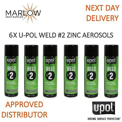 6 X U-Pol Weld 2 Zinc Weld Through Primer Aerosols - Upol