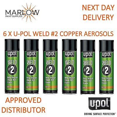 6 X Upol Weld # 2 Weld Through Primer Copper U-Pol Aerosol