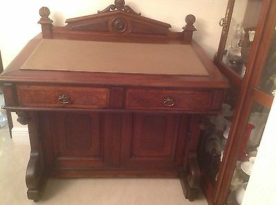 Large Beautiful Antique Davenport Ship Desk Leather Deep Mahogany/brown Pre1900