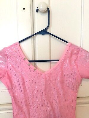 Figure Skating Dress Pink Sparkly - Size Child L/XL Adult XS/S