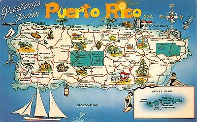 Greetings from Puerto Rico USA, Map, Chrome Postcard