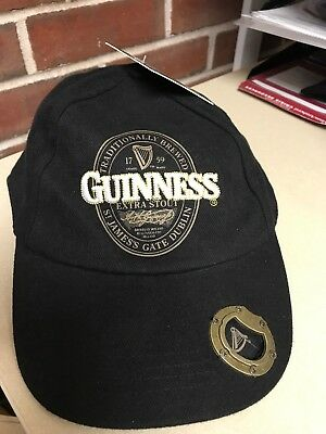 603539426 BLACK GUINNESS BASEBALL Cap With Extra Stout Label Design And Bottle Opener  NWT