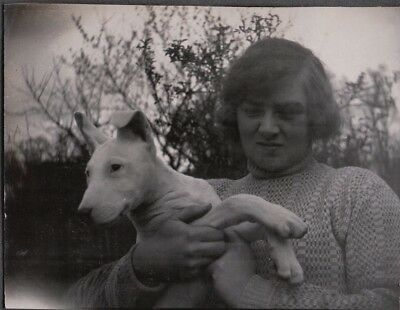 Vintage Photograph 1920-30S Girl Puppy Bull Terrier Dog London England Old Photo