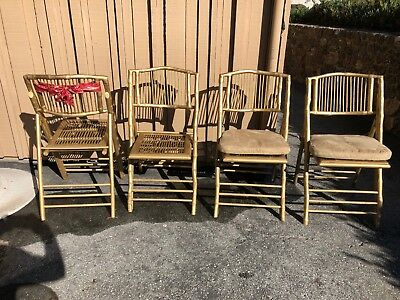 12 GOLD Bamboo Design Folding Chairs with NEW Pottery Barn cushions