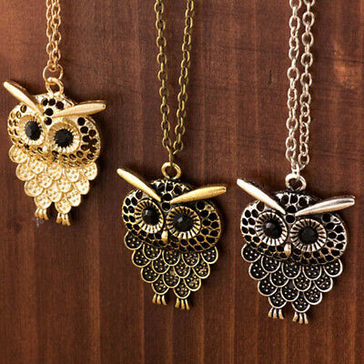 1pcs Personality Very Cute Retro Owl Necklace Sweater Chain Pendant Accessories