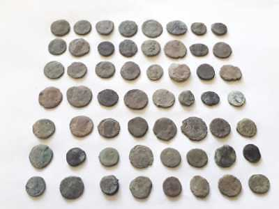 Beautiful Lot Of 56 Ancient Roman Bronze Coins For Cleaned