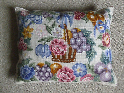 Ehrman Wool and Velvet Tapestry Feather Cushion Basket of Flowers