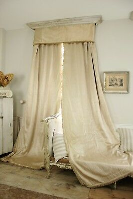 2 antique +valance French raw silk curtains Cream tall ceilings drapes 30's