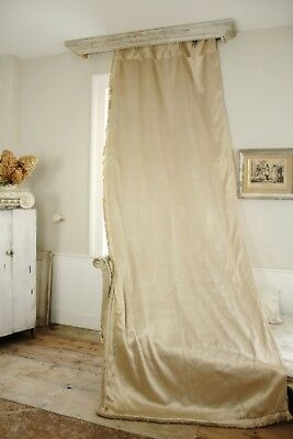 Curtain Antique French raw silk Cream toned for tall ceilings drape 1930's