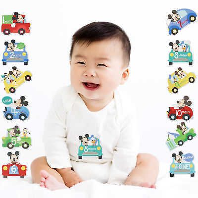 Disney Mickey Mouse Milestone Photo Prop Belly Stickers Baby Boy Age 0-12M