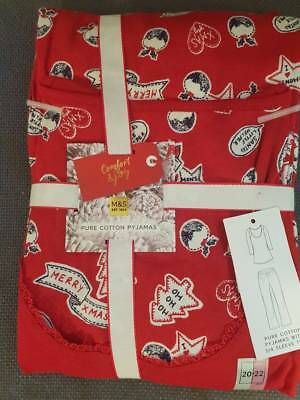 Size 20-22 Red Mix Pure Cotton Christmas Pyjamas  Marks And Spencer