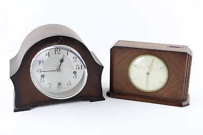2 Vintage Wooden Case Key / Hand-Wind Mantel Clocks WORKING Inc. Time Saving