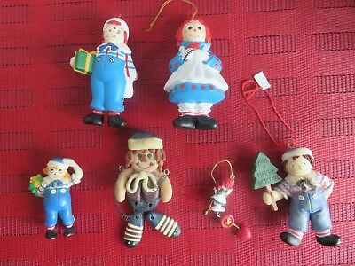 6- Vintage Raggedy Ann and Andy Christmas Ornaments Assortment