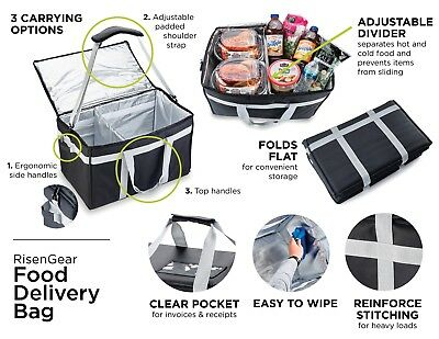 Insulated Food Delivery Bag with adjustable divider for caterers and drivers