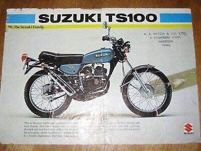 SUZUKI TS100 Original Brochure, 1975, and specs included,  2 pages,